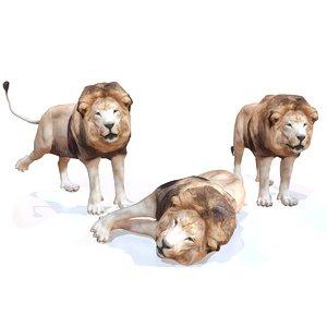 rigged lion animal 3d fbx