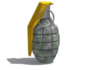 3d military grenade model