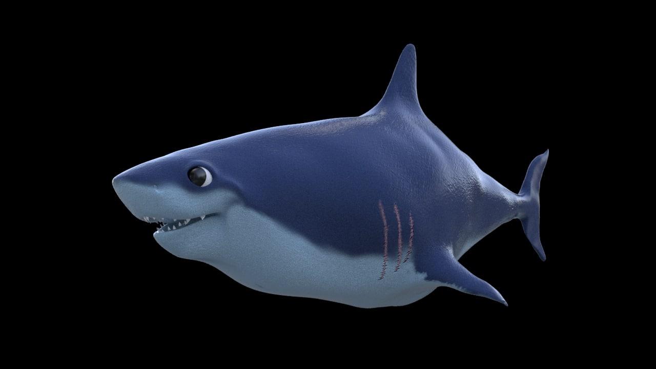 toon shark 3d obj