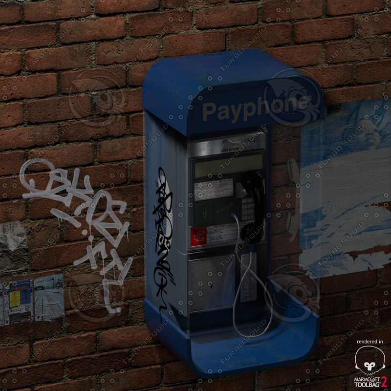 3d environment payphone model