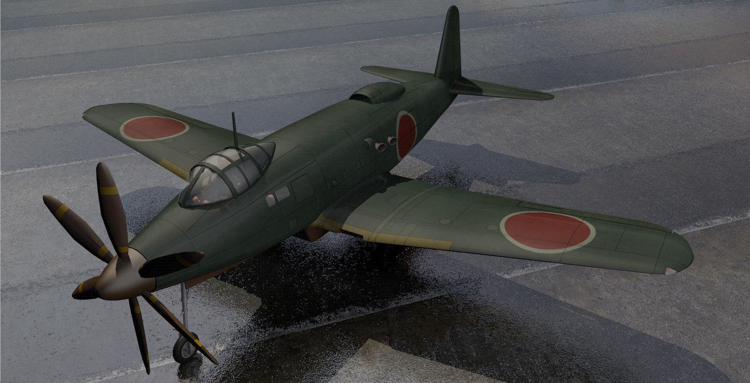 3d model of yokosuka r2y1 keuin fighter aircraft