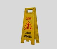 wet floor cleaning sign 3d model