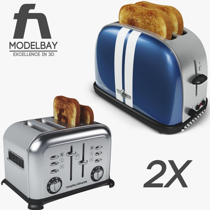 3d model toaster russell hobbs toast