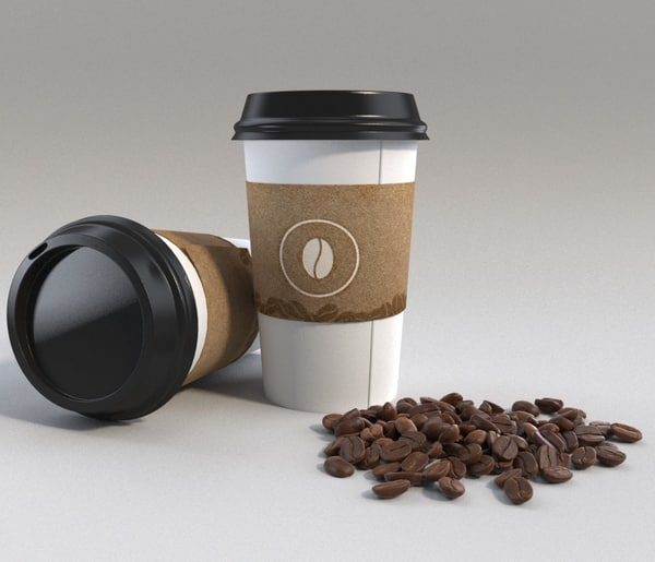 coffee cup beans 3d max