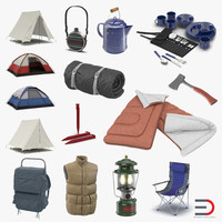 camping equipment modeled 3d model