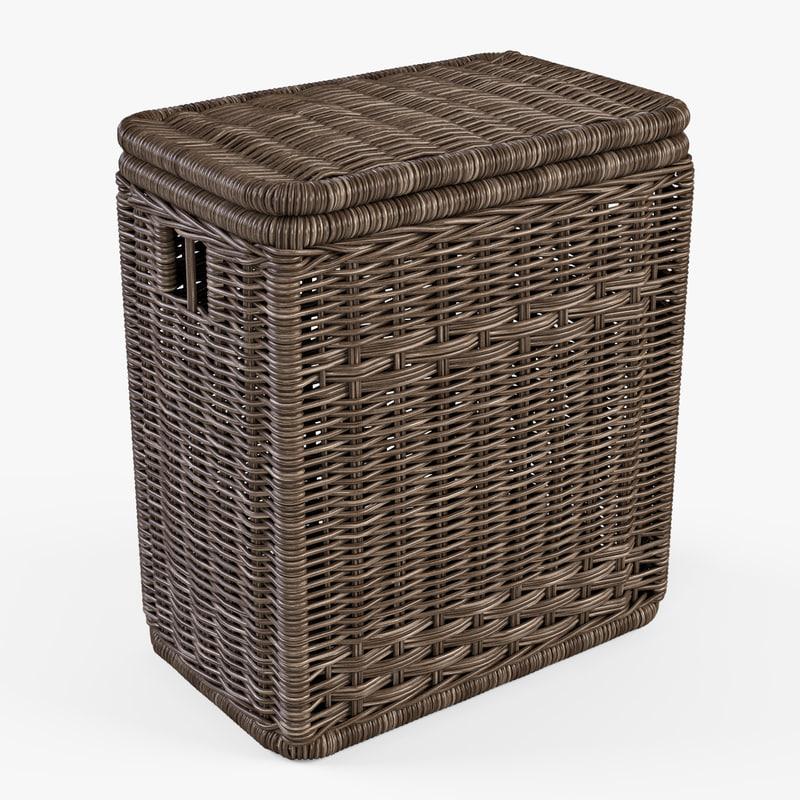 wicker laundry basket color 3d model