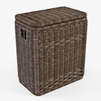 wicker laundry basket color 3d model