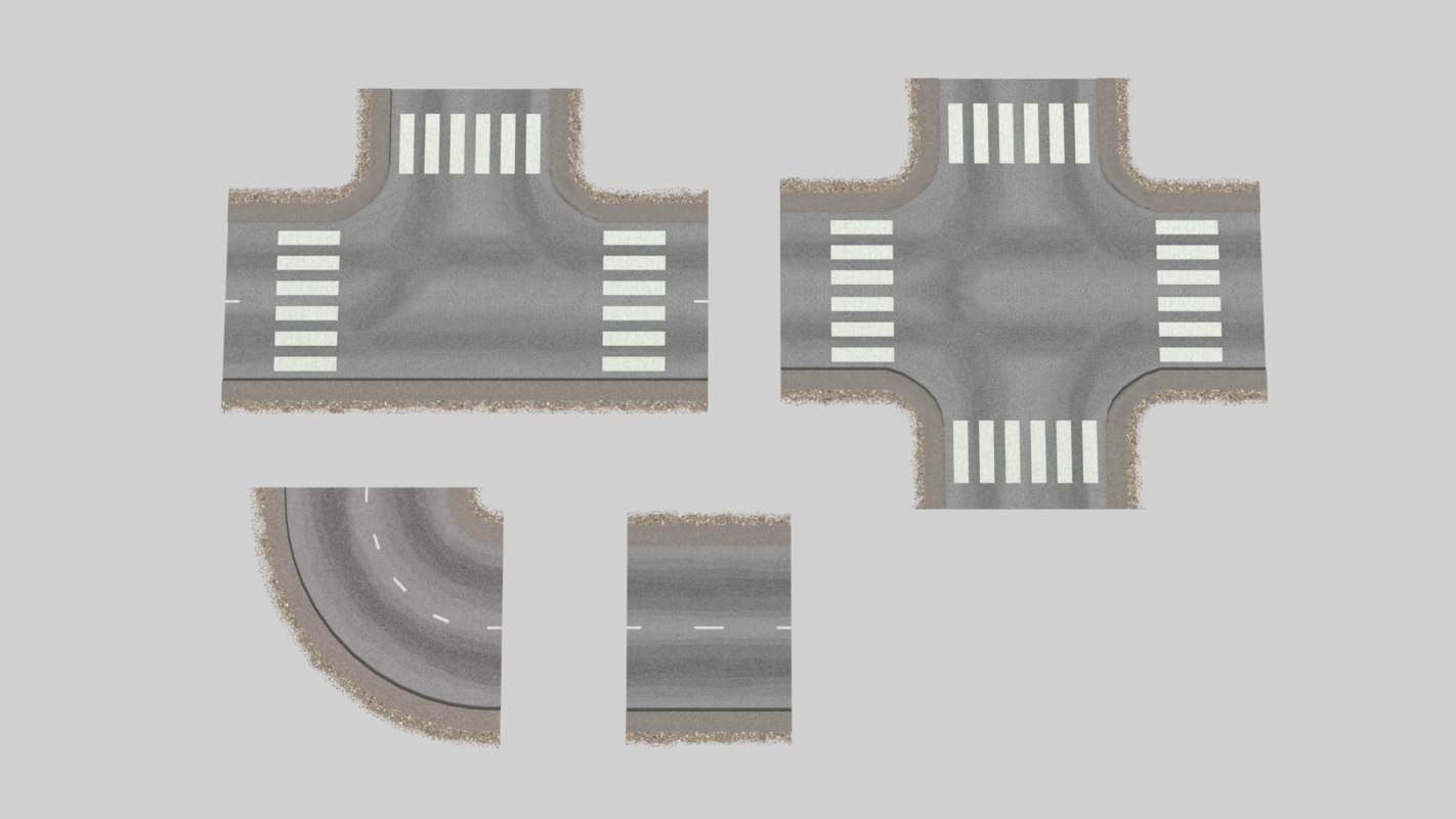 3d model of lane 2 road intersections