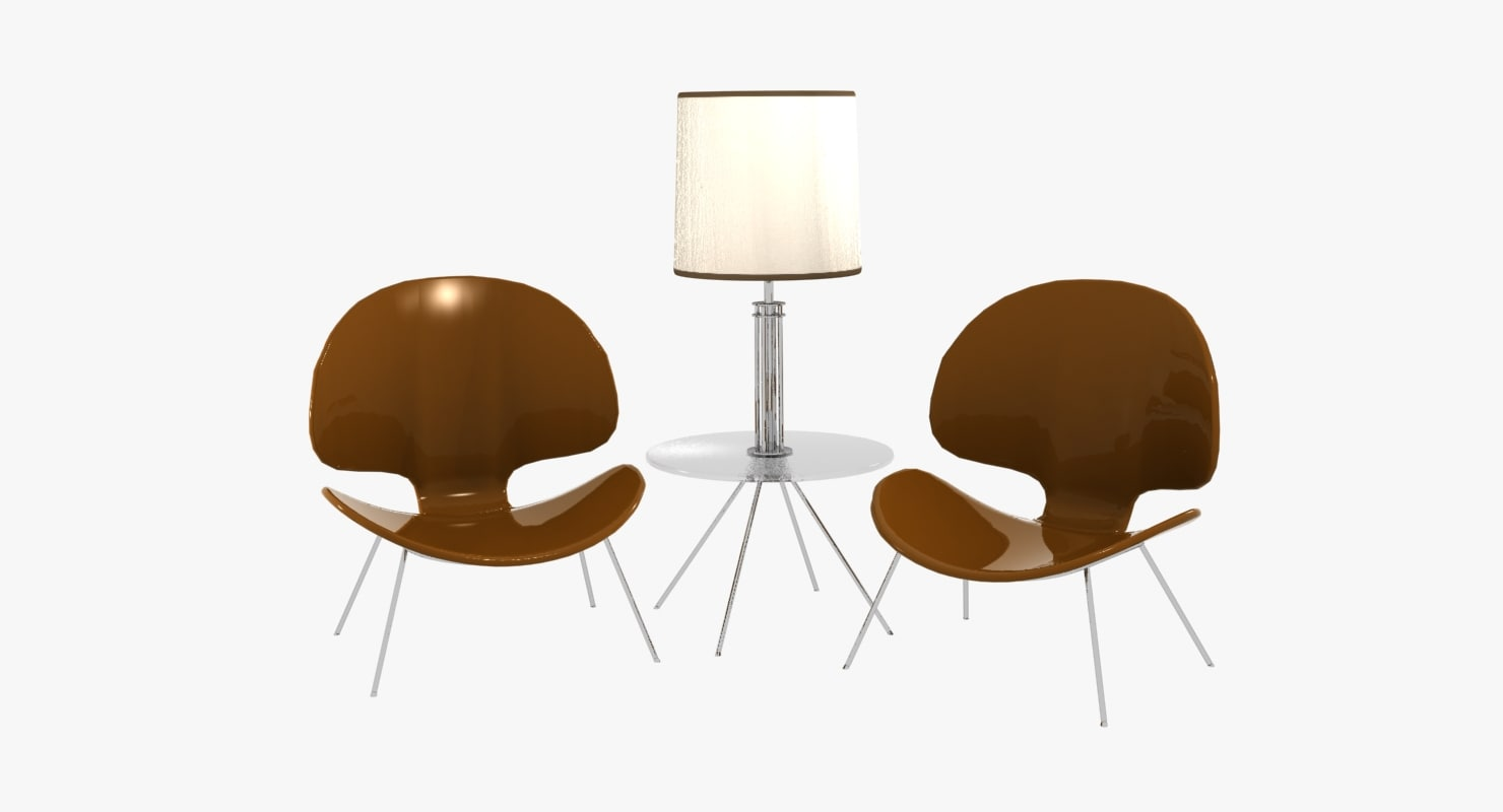 3d model realistic modern chairs lamp