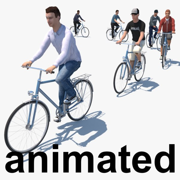 3d model cyclists animation