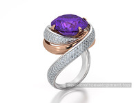 Jewelry ring with amethyst