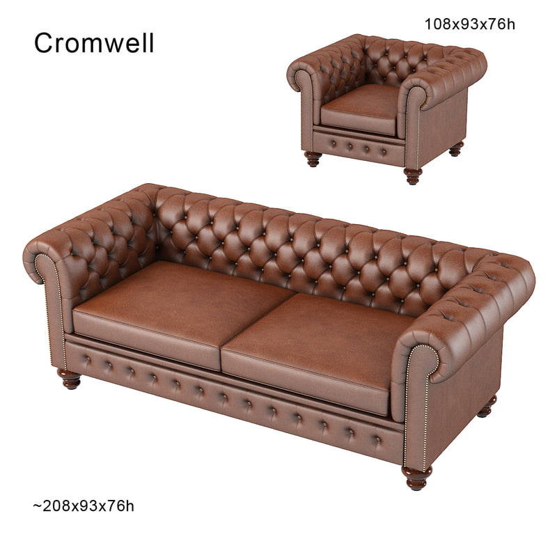 3d model chesterfield traditional tufted for Traditional tufted leather sofa
