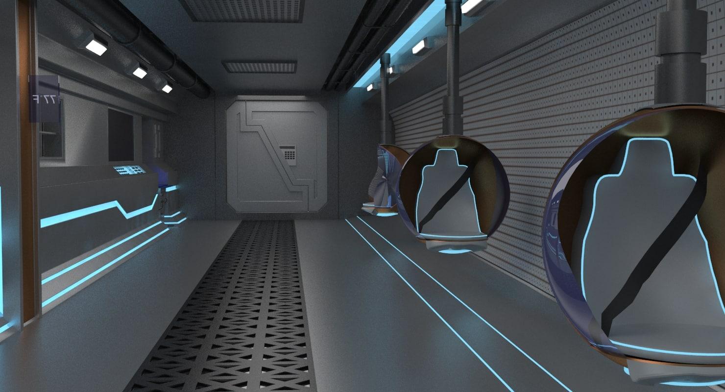 3d model si fi corridor