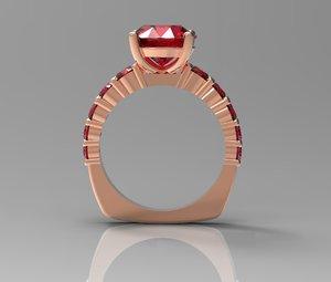 9mm center diamond gemstone 3d 3dm