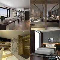 3d hotel suites scenes model