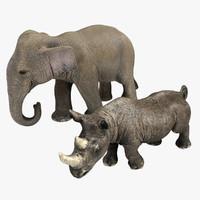 3d model rhino elephant
