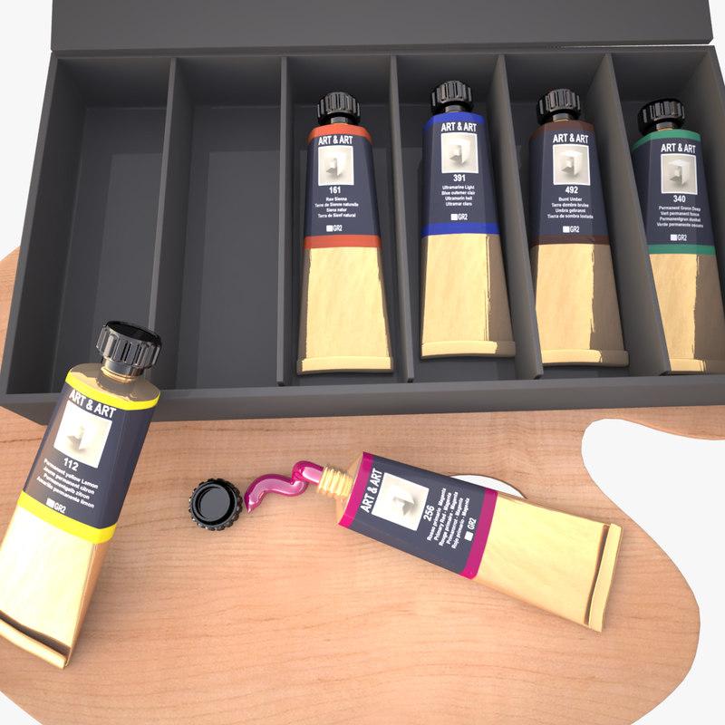 3d model artist paint tube
