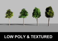 low poly trees textured