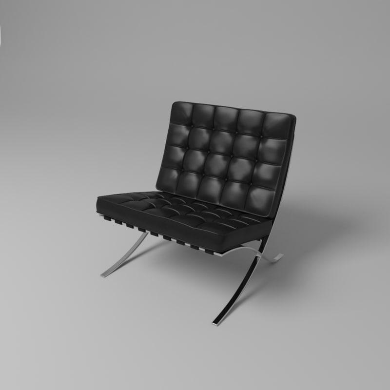 3d model barcelona chair van der