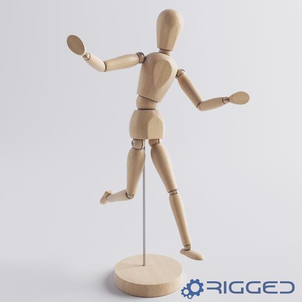 wooden man rigged 3d model
