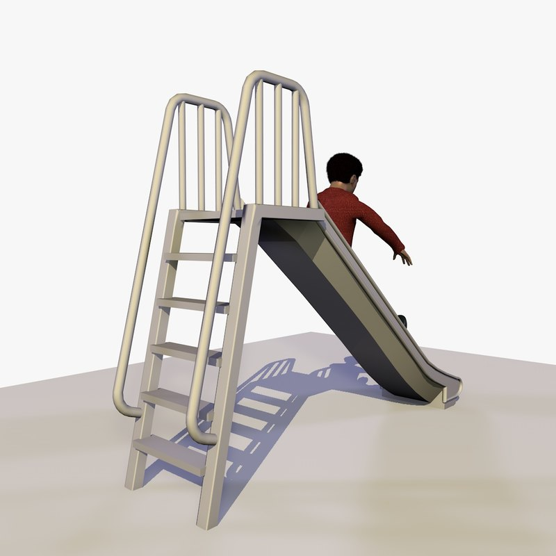 3d model african boy playing slide