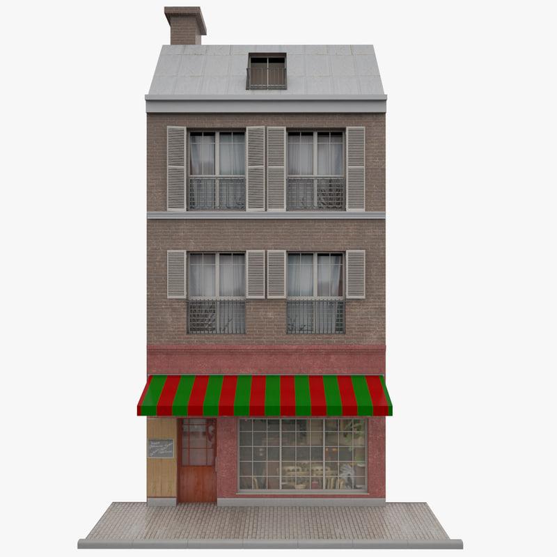 facade paris building 3d model