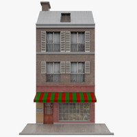 facade paris building 3d model
