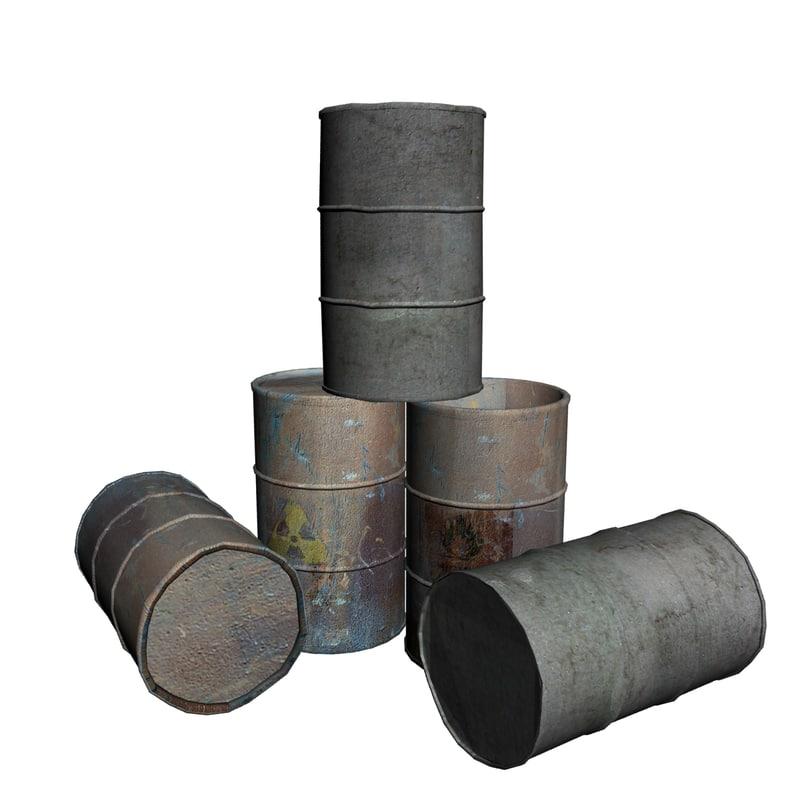 3d oil drums barrels model