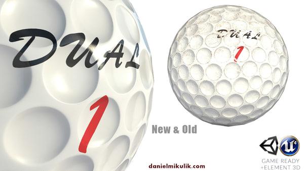 golf ball 2 types 3d 3ds