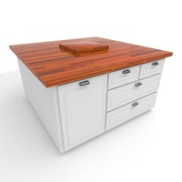 3d butcher block island model