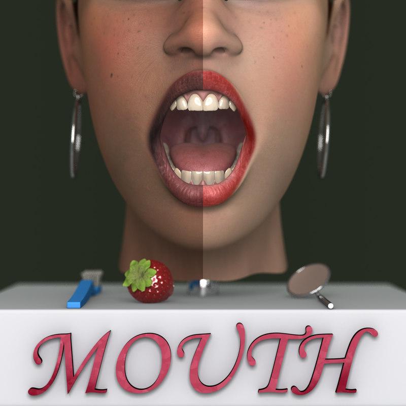 mouth lips teeth max7 3d max
