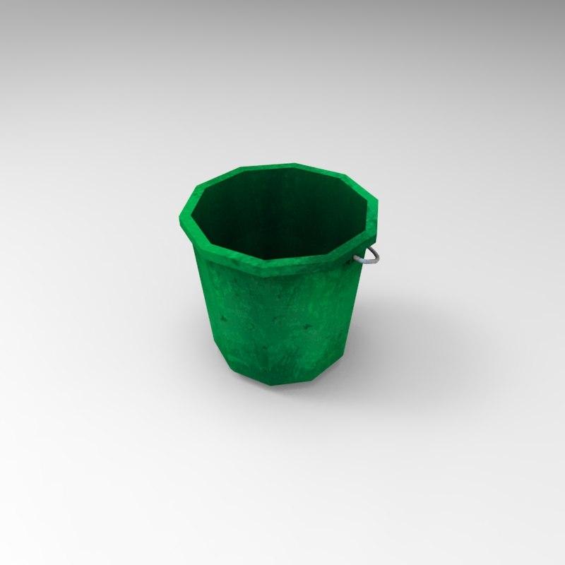 plastic bucket 03 3d model