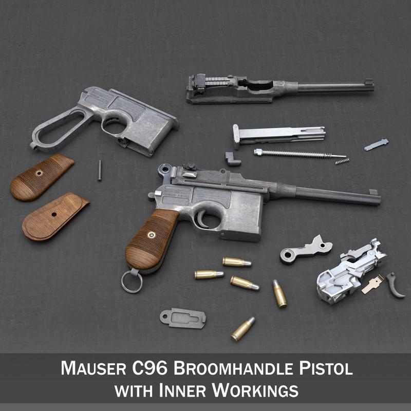 mauser c96 broomhandle pistol 3d model