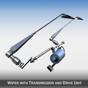 3d windscreen wiper transmission drive