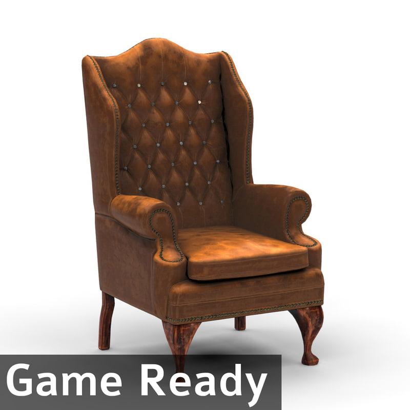 3d old vintage chair