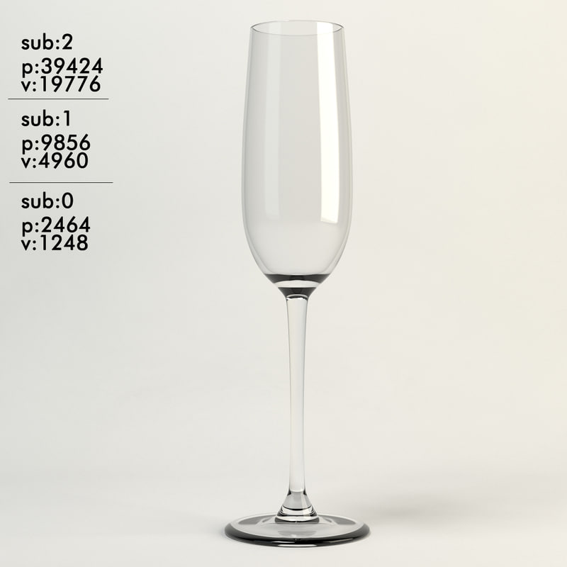 champagne glass clear 3d max