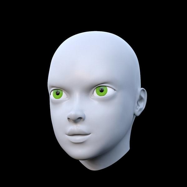 basemesh female head mesh 3d model