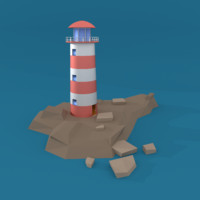 cartoon lighthouse 3d model