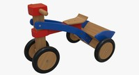 3d model of tricycle wood collada