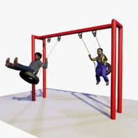 3d boys playing playground swings
