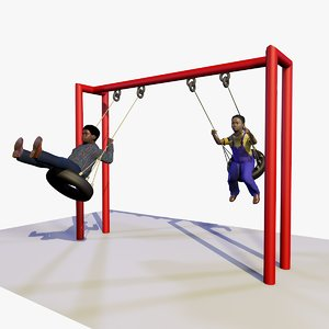 boys playing playground swings 3d c4d