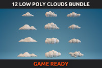 12 Low Poly Clouds Bundle