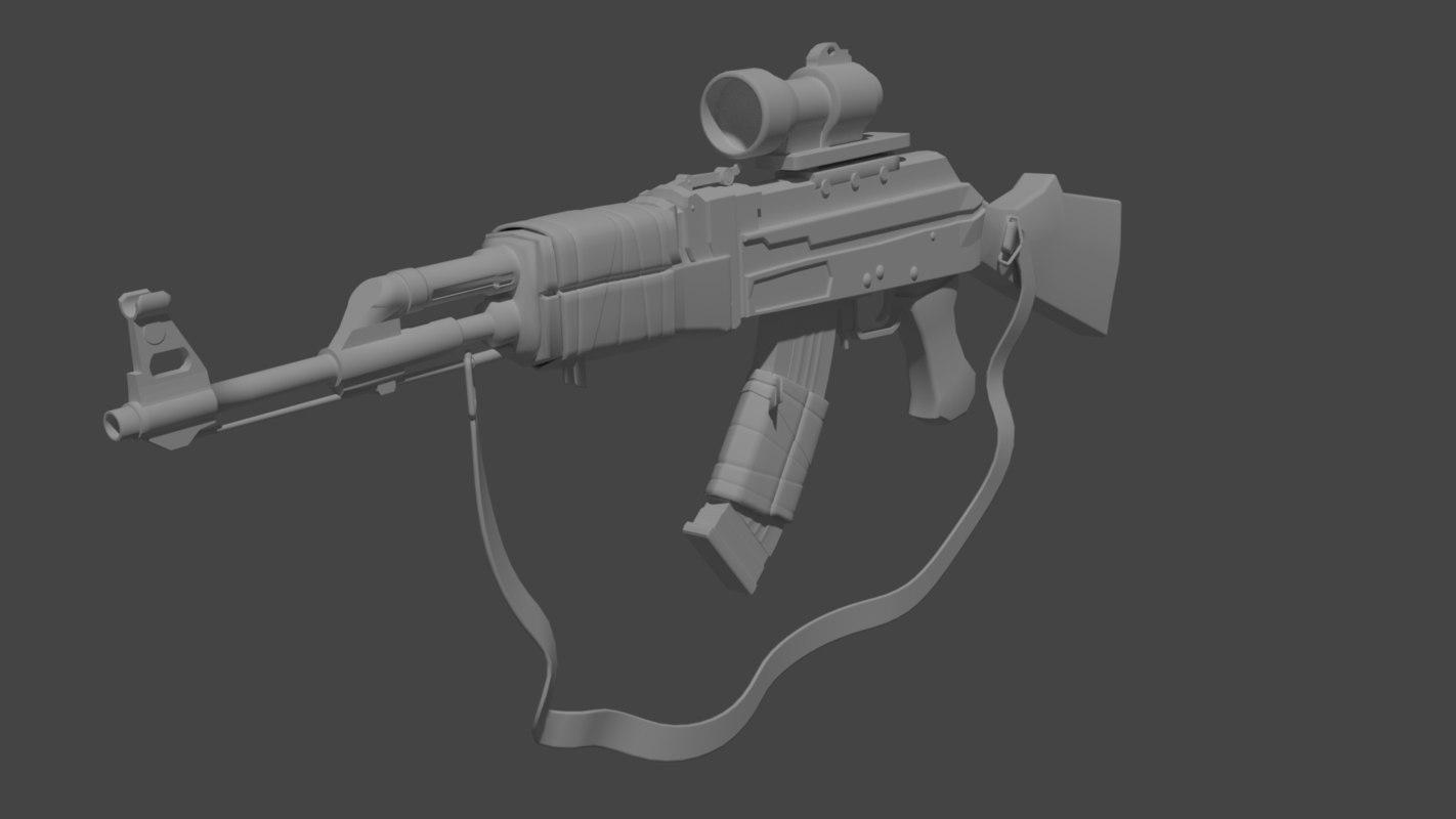 postapocalyptic weapon ak47 3d obj
