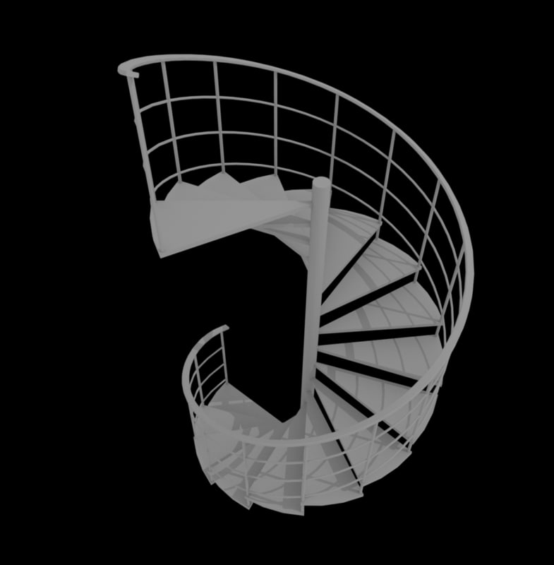 3d staircase stair spiral