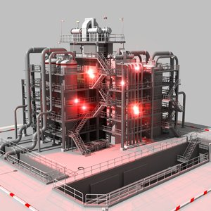 refinery complex construction 3d 3ds