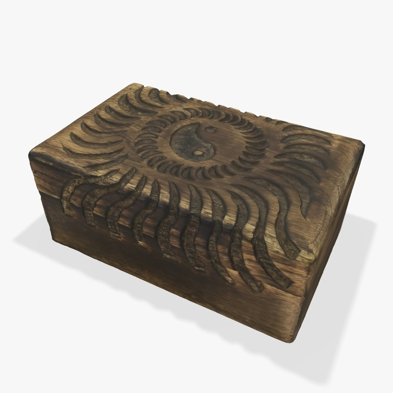 3d small box chinese wood model