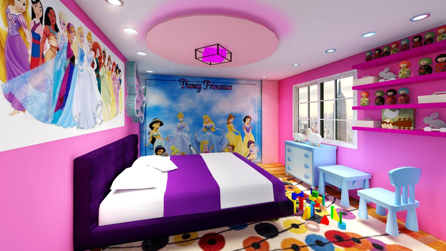 3d model of girl room