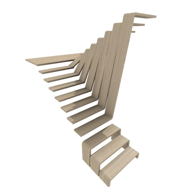 free modern staircase 3d model