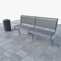 set bench trash bin 3d obj