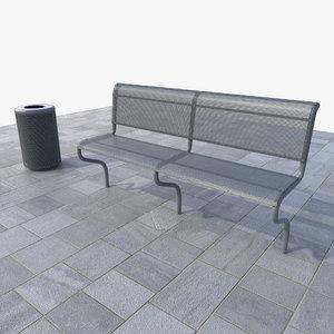 set bench trash bin 3d obj